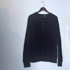 Express Men's Navy Thermal Henley Shirt